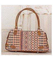 leather accent cotton shoulder bag, 'geometric beauty' (guatemala)