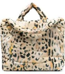 kassl editions leopard-print padded shoulder bag - neutrals