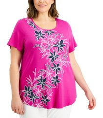 jm collection plus size printed long t-shirt, created for macy's