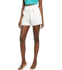 women's 4si3nna blaire cotton eyelet tie waist shorts, size small - white