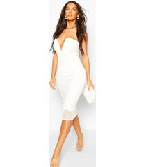 bandeau v bar mesh midi bodycon dress, white