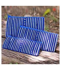 cotton blend cosmetic bags, 'blue lisu chic' (set of 3) (thailand)