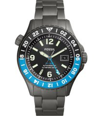 fossil men's fb-02 gunmetal-tone titanium bracelet watch 45mm