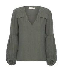 camisa feminina bolsos - verde