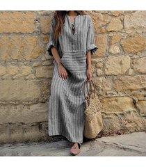 zanzea mujeres de rayas de manga larga a rayas plus maxi largo del vestido de la túnica -gris