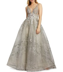 mac duggal women's embellished deep v-neck ball gown - sand - size 8