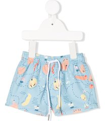 knot all-over print swim shorts - blue