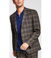 alfani men's slim-fit brown/blue plaid suit jacket, created for macy's