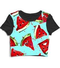 blusa feminina cropped tshirt fruta melância - feminino