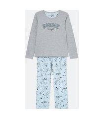pijama de manga longa com calça e estampa shine bright   lov   cinza   p