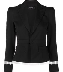 dsquared2 sheer-panel cropped blazer - black