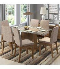 conjunto sala de jantar madesa melissa mesa tampo de vidro com 6 cadeiras marrom - marrom - dafiti