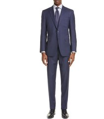 men's big & tall canali milano classic fit check wool suit