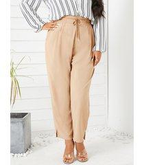 yoins plus tamaño de amarre diseño bolsillos laterales pantalones