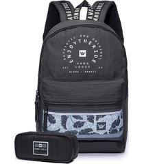 kit mochila preta escolar + estojo preto hang loose - preto - masculino - dafiti