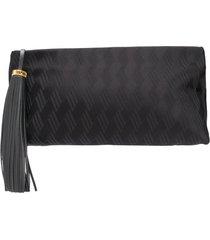the attico tassel detail clutch bag - black