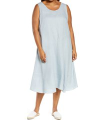 plus size women's eileen fisher organic linen midi dress