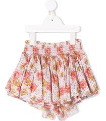 velveteen eloise floral print shorts - pink