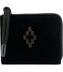 marcelo burlon county of milan cross velvet wallet black black