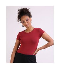 camiseta feminina básico manga curta decote redondo vinho