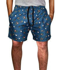 shorts praia estampado   microfibra azul com bolsos laterais ref.386.26