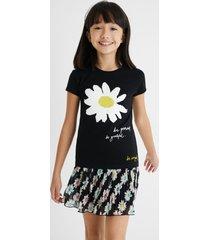 t-shirt daisy reversible sequins - black - 11/12