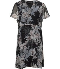 dress short sleeves plus floral print knälång klänning multi/mönstrad zizzi