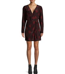 heart-print mini wrap dress