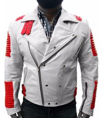new handmade men ribbed white leather jacket, biker two color designer trendy fa