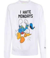mc2 saint barth white man sweatshirt i hate mondays print paperino print - special edition disney©