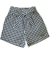 shorts doc kids princesa xadrez azul
