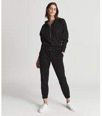 reiss lucy - loungewear zip neck hoodie in black, womens, size l