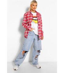 oversized geruite boyfriend blouse
