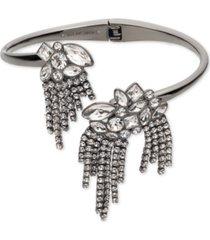 givenchy hematite-tone crystal fringe bypass cuff bracelet