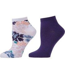 bold floral socks, 2 pair pack, women's, purple, josie