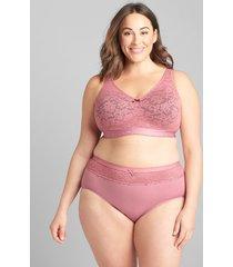 lane bryant women's cotton high-leg brief panty with lace waist 34/36 mesa rose