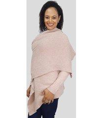 casaco com manta tomasini tricot outono/inverno 2020 rosa