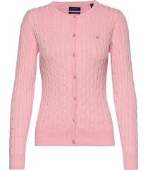 stretch cotton cable crew cardigan stickad tröja cardigan rosa gant