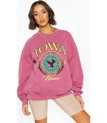 iowa washed oversized sweatshirt, berry