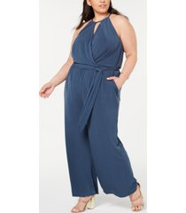 1.state plus size halter-neck faux-wrap jumpsuit
