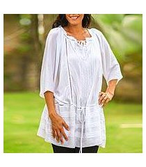 pin tuck long tunic, 'sheer java cloud' (indonesia)