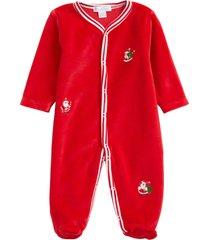 infant boy's kissy kissy embroidered santa velour footie