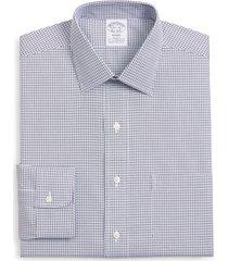 brooks brothers regent regular fit stretch plaid dress shirt, size 15.5 - 34 in open blue at nordstrom