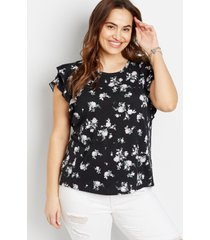 maurices plus size womens 24/7 black floral ruffle sleeve tee