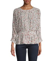 frame denim women's floral silk top - off white - size xs