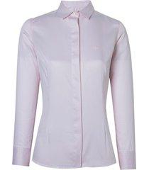 camisa dudalina manga longa sarja fio tinto broche no punho feminina (rosa claro, 46)