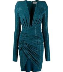 alexandre vauthier glass-embellished asymmetric dress - blue