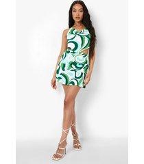 hemdje met abstracte opdruk en col en mini rokje, emerald