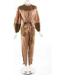 sea new york gabriette belted jumpsuit brown pink cotton brown/pink sz: s