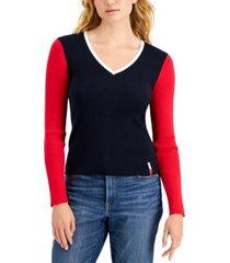 tommy jeans cotton v-neck ribbed sweater